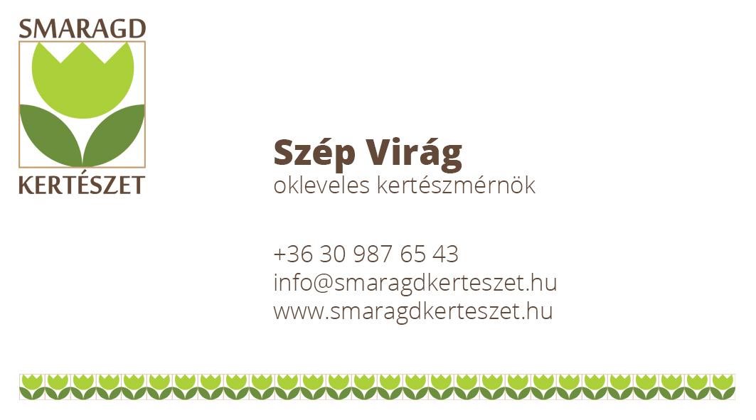 Smaragd Kertészet névjegykártya