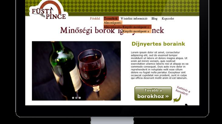 Füsti Pince weboldal számítógépen