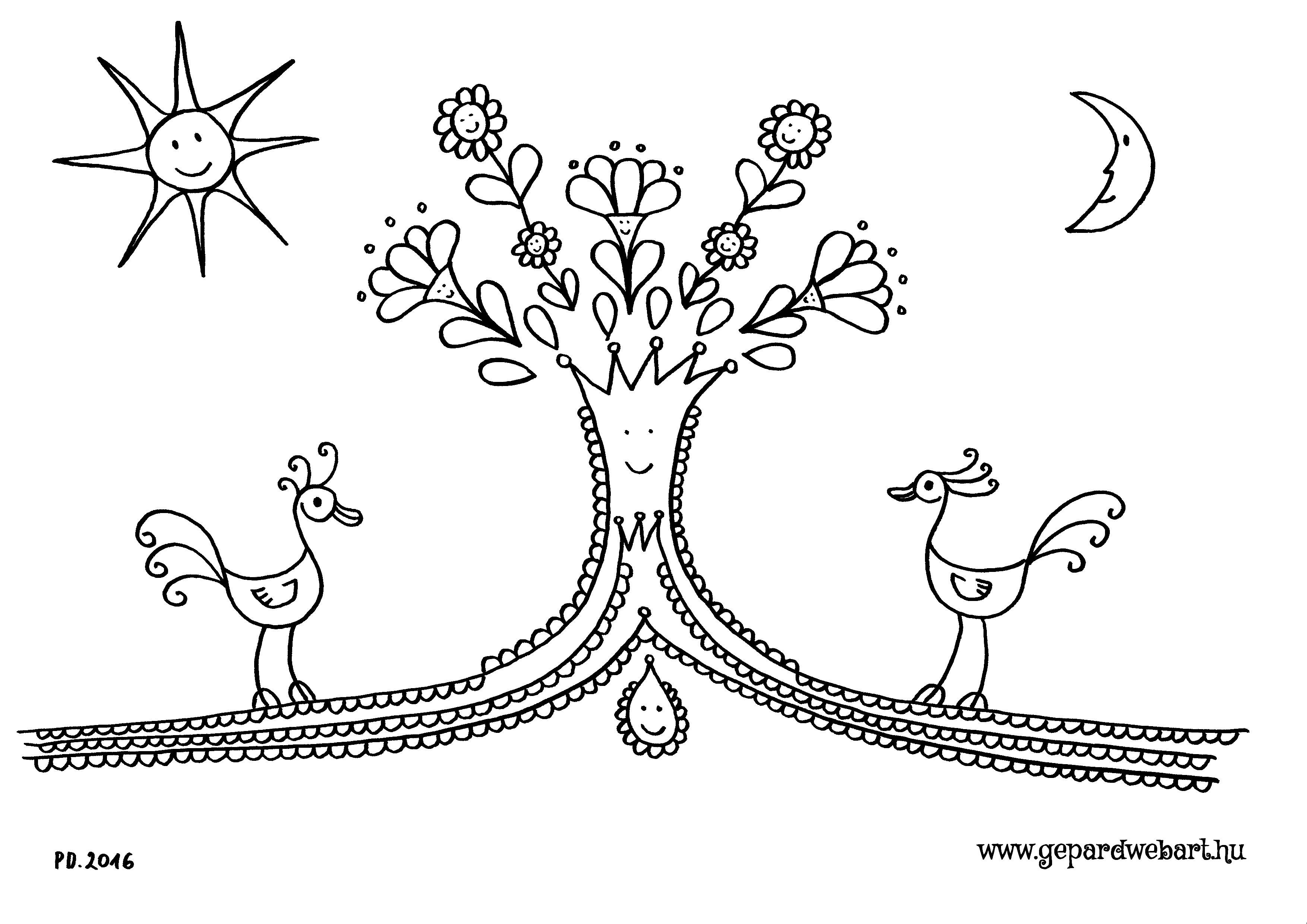 madaras virágos fás kiszínező