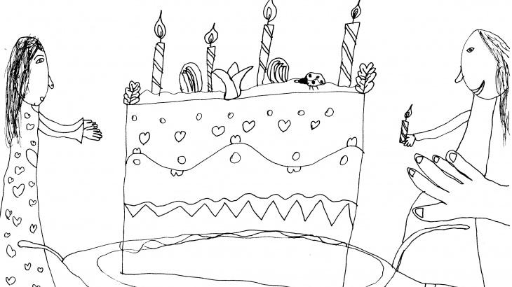 születésnapi tortás kiszínező