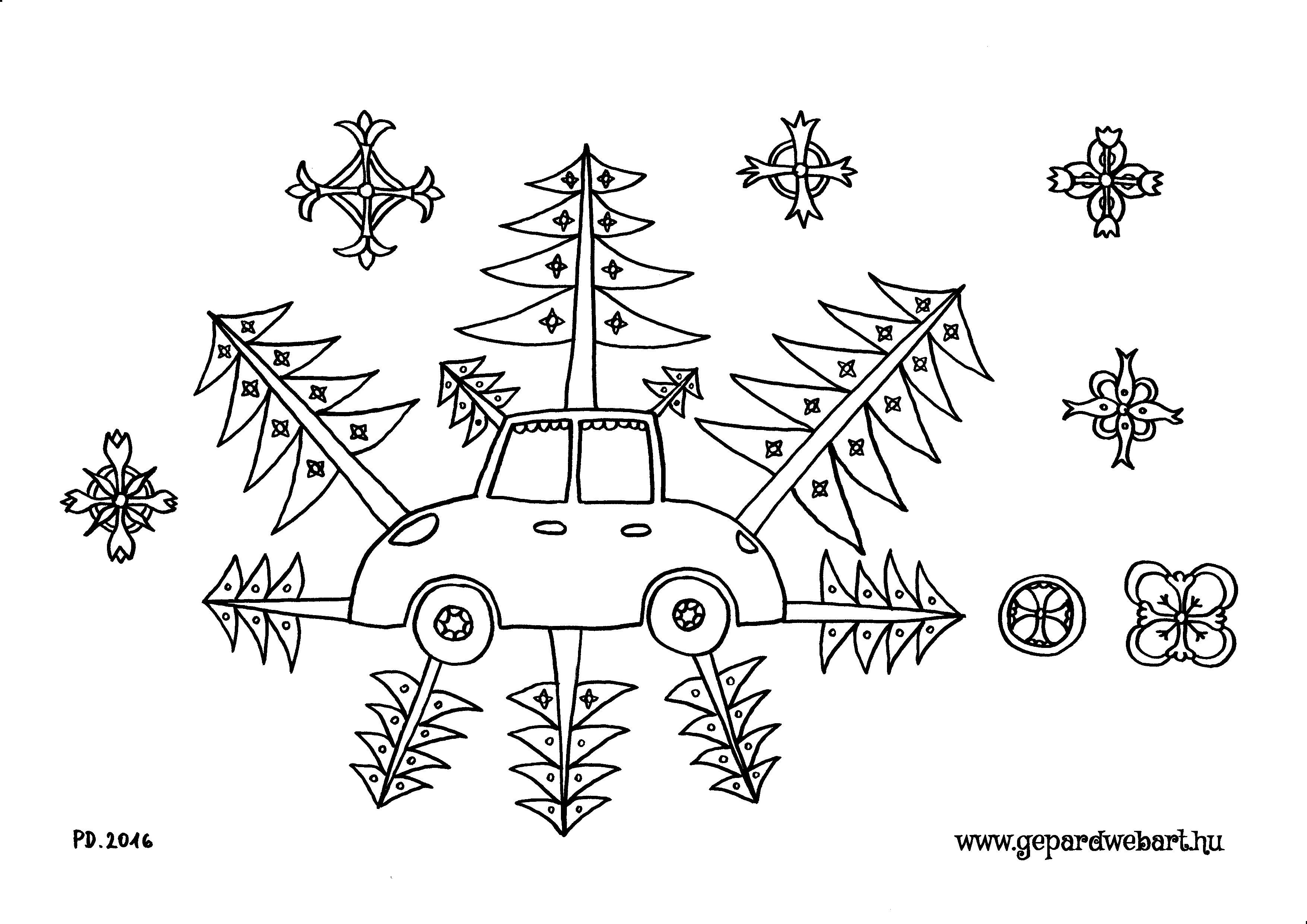 autó fenyőkkel kiszínező