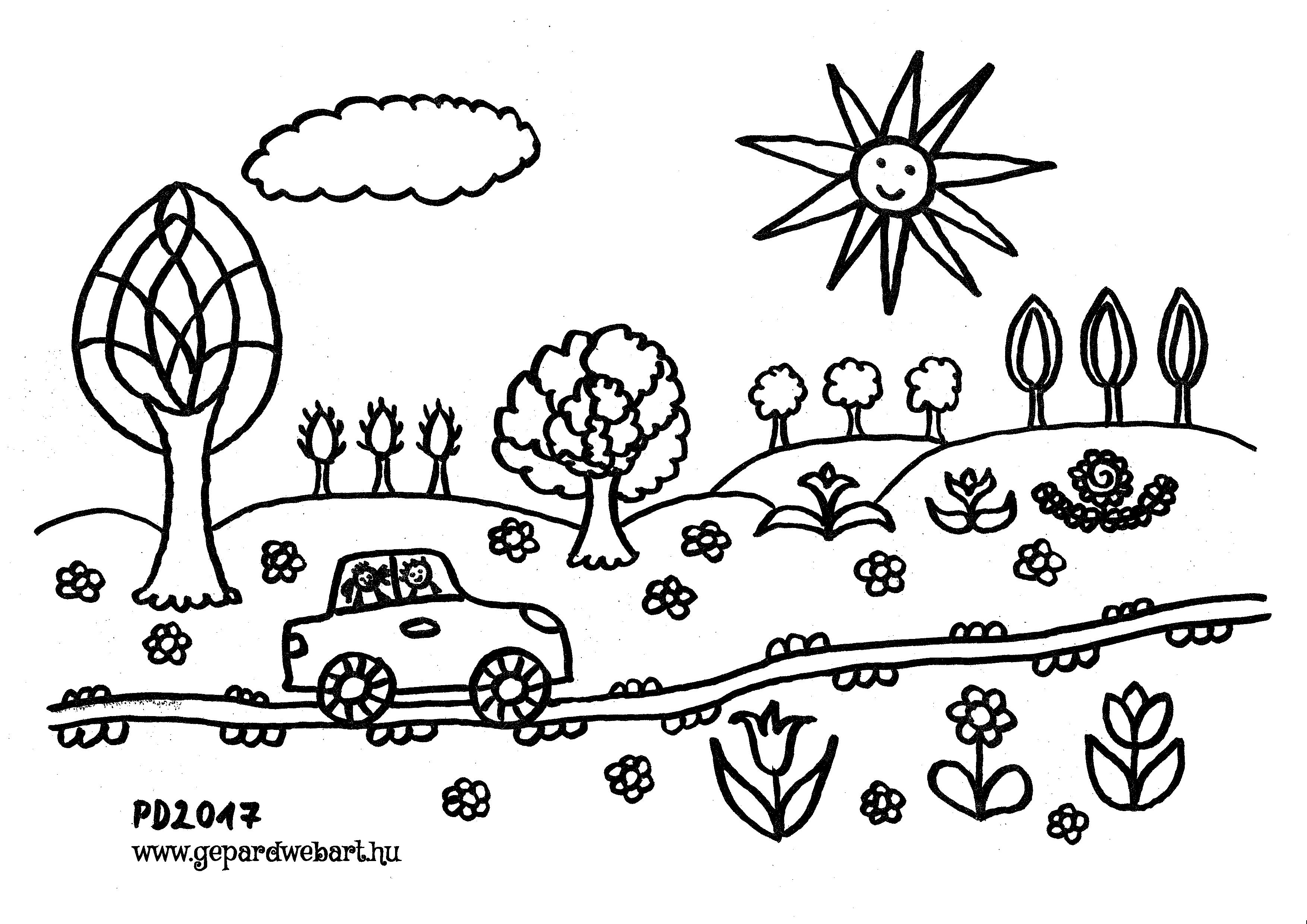 autós tavaszi kiszínező