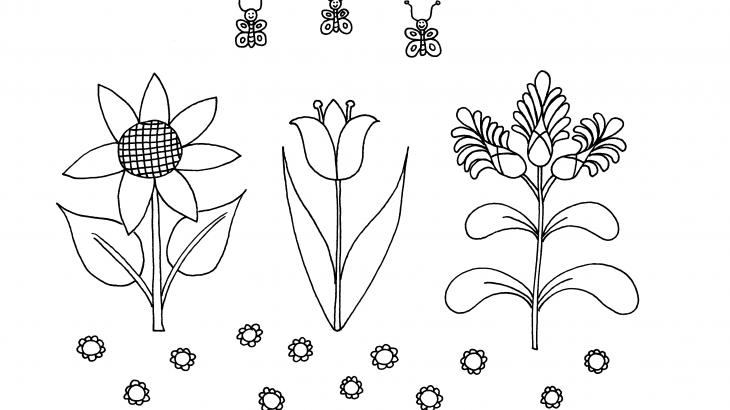 három virág három lepke kiszínező