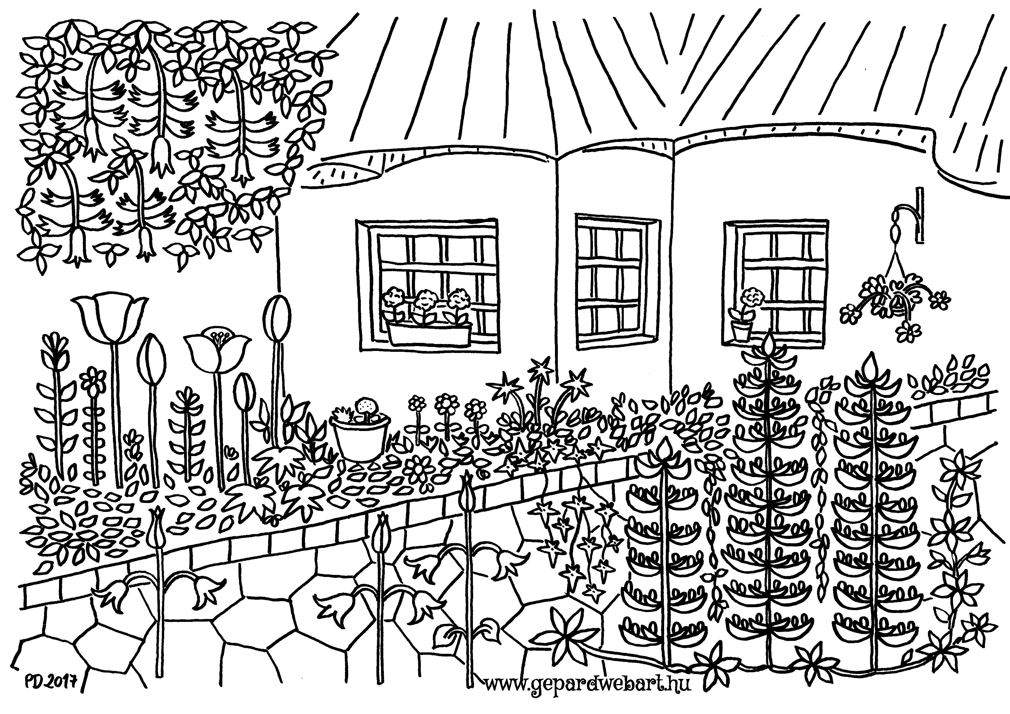 virágos kert kiszínező